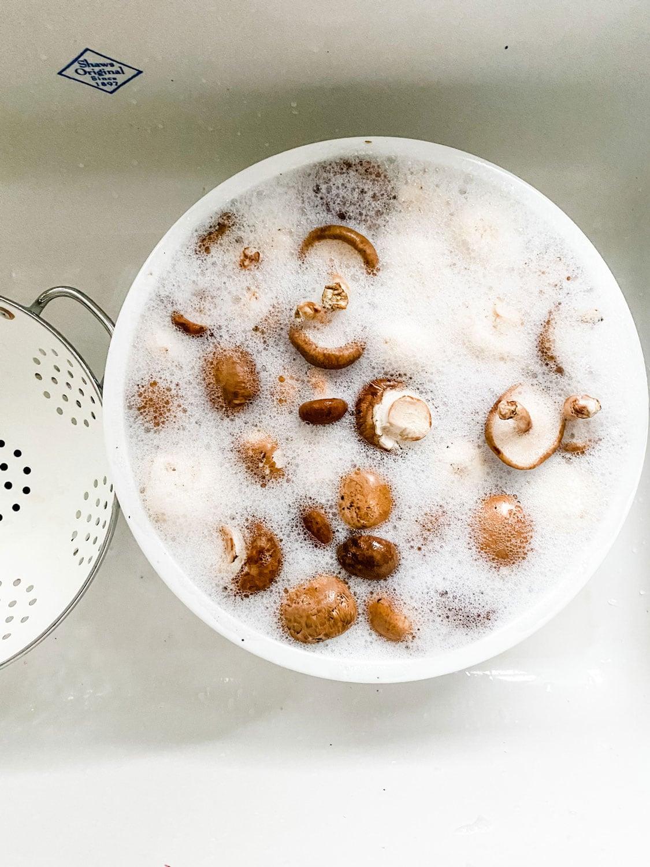 mushrooms in bowl of soapy water