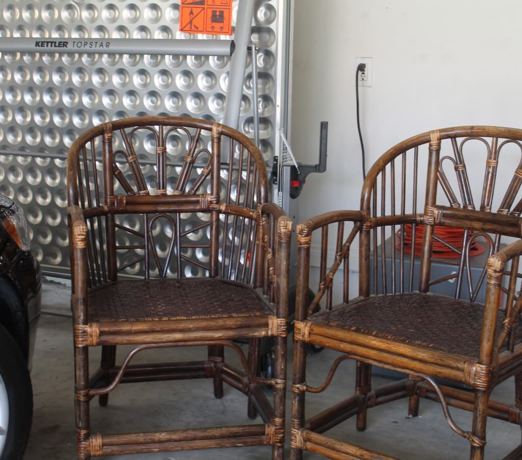 Wicker chairs from thrift store