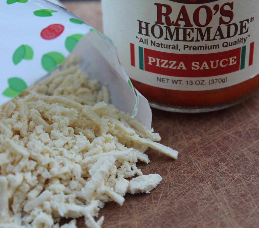 Daiya cheese and Rao's Pizza Sauce