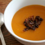 butternut squash soup with caramelized shallots