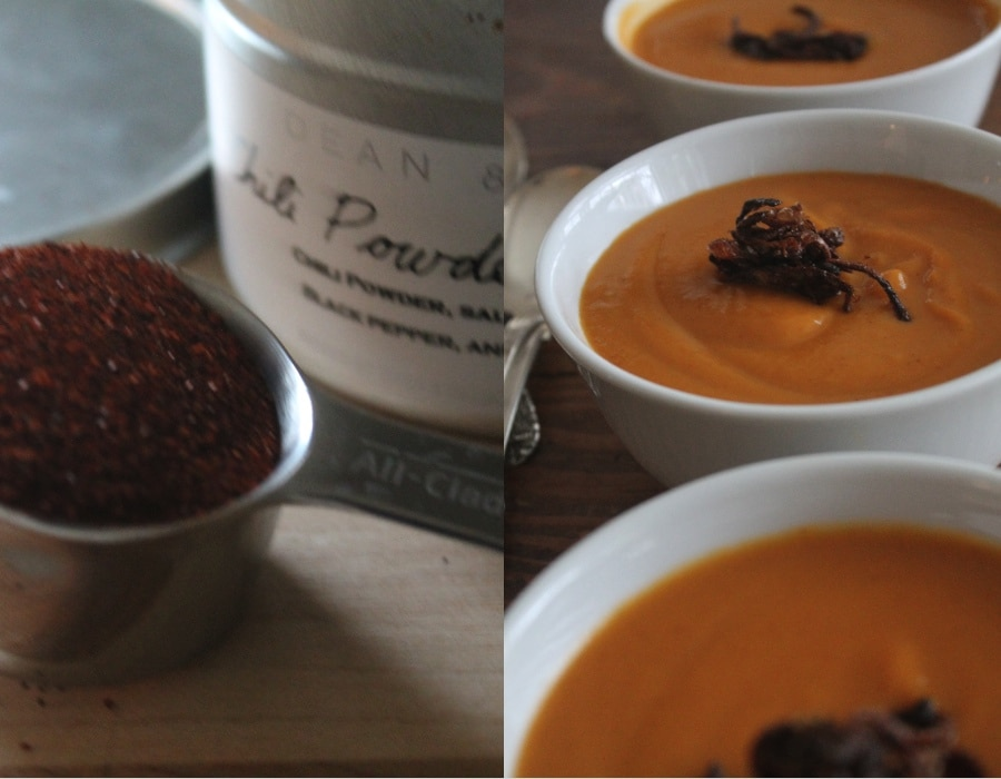 butternut squash soup with crispy shallots