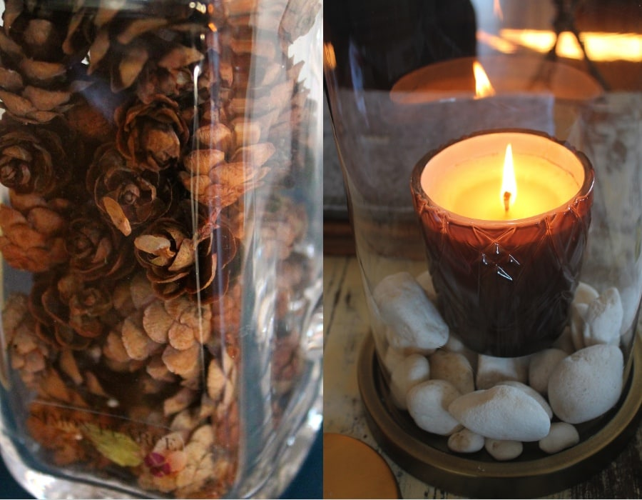 the little things, candle, pinecones