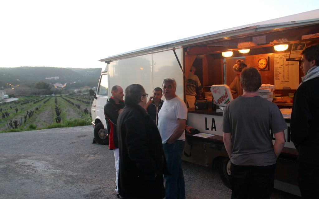 A pizza truck at the edge of a vineyard-Cassis, France