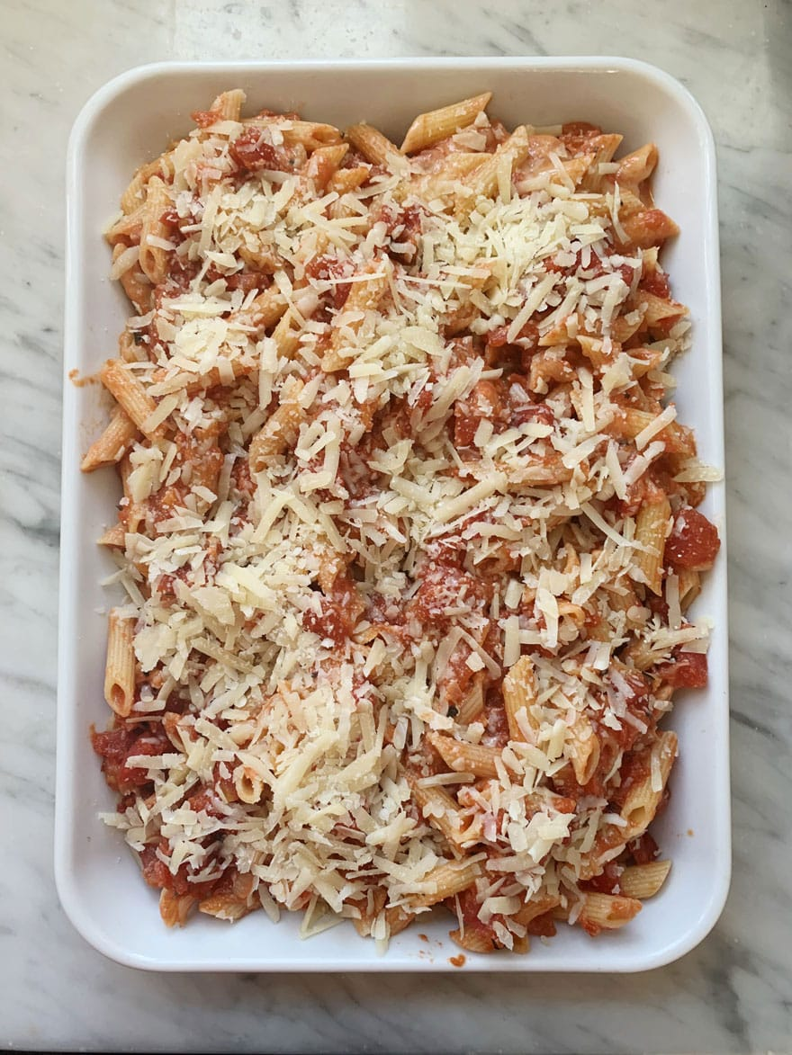 pasta in white dish with cheese