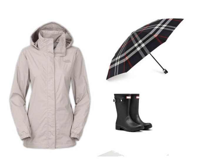 Rain Gear in black and gray