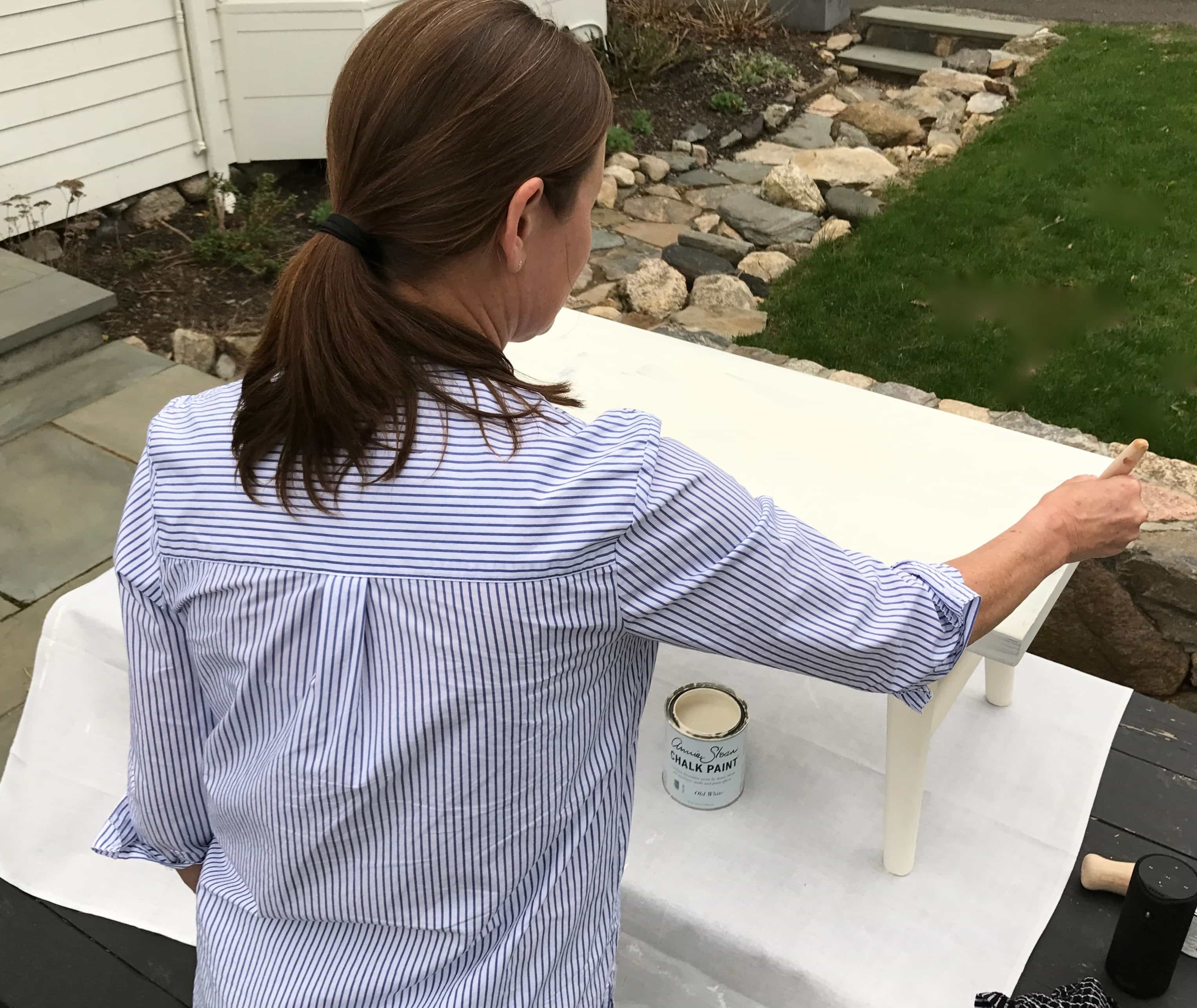Annie Sloan Painting progress on bench