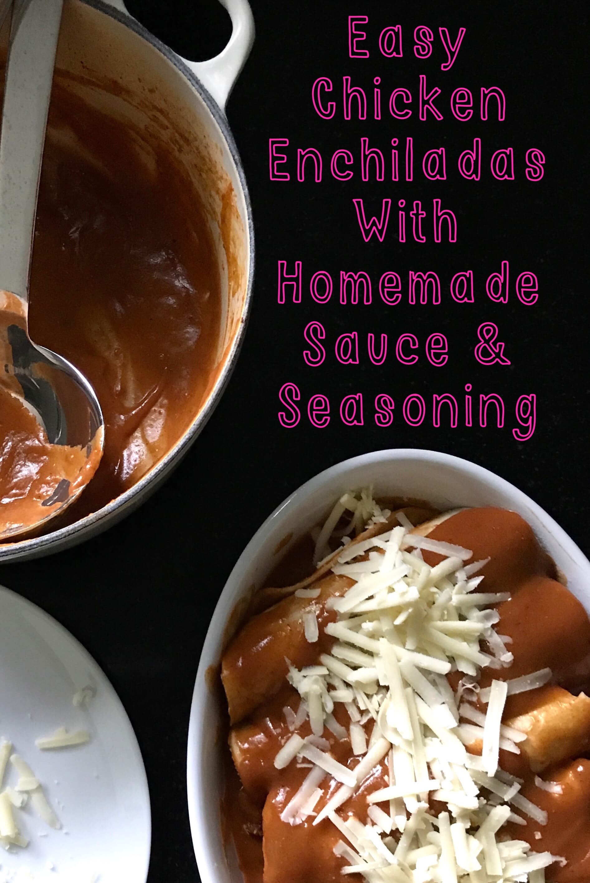 Easy Chicken Enchiladas with homemade sauce & seasoning