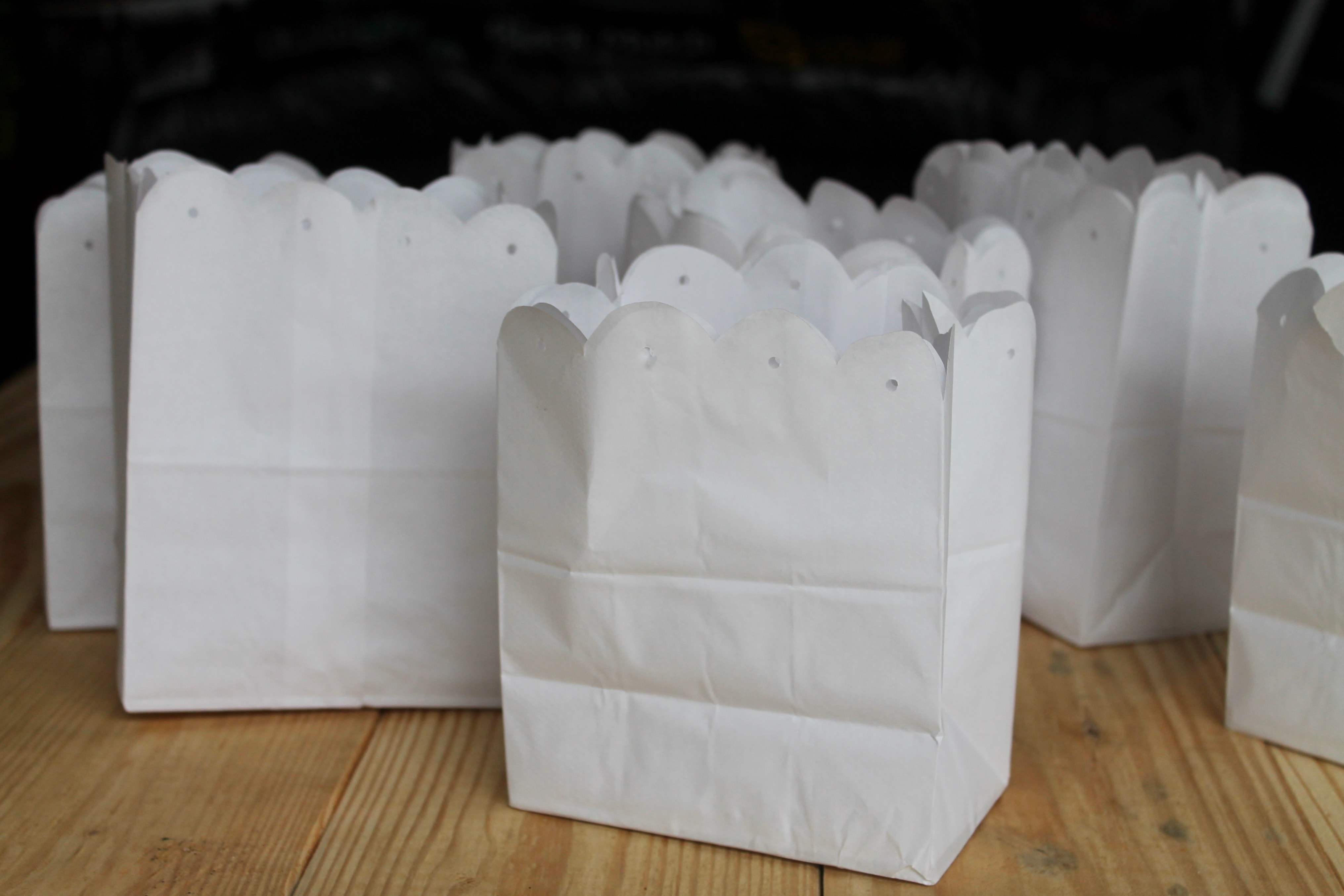 White Paper Bags for simple diy May Day Baskets