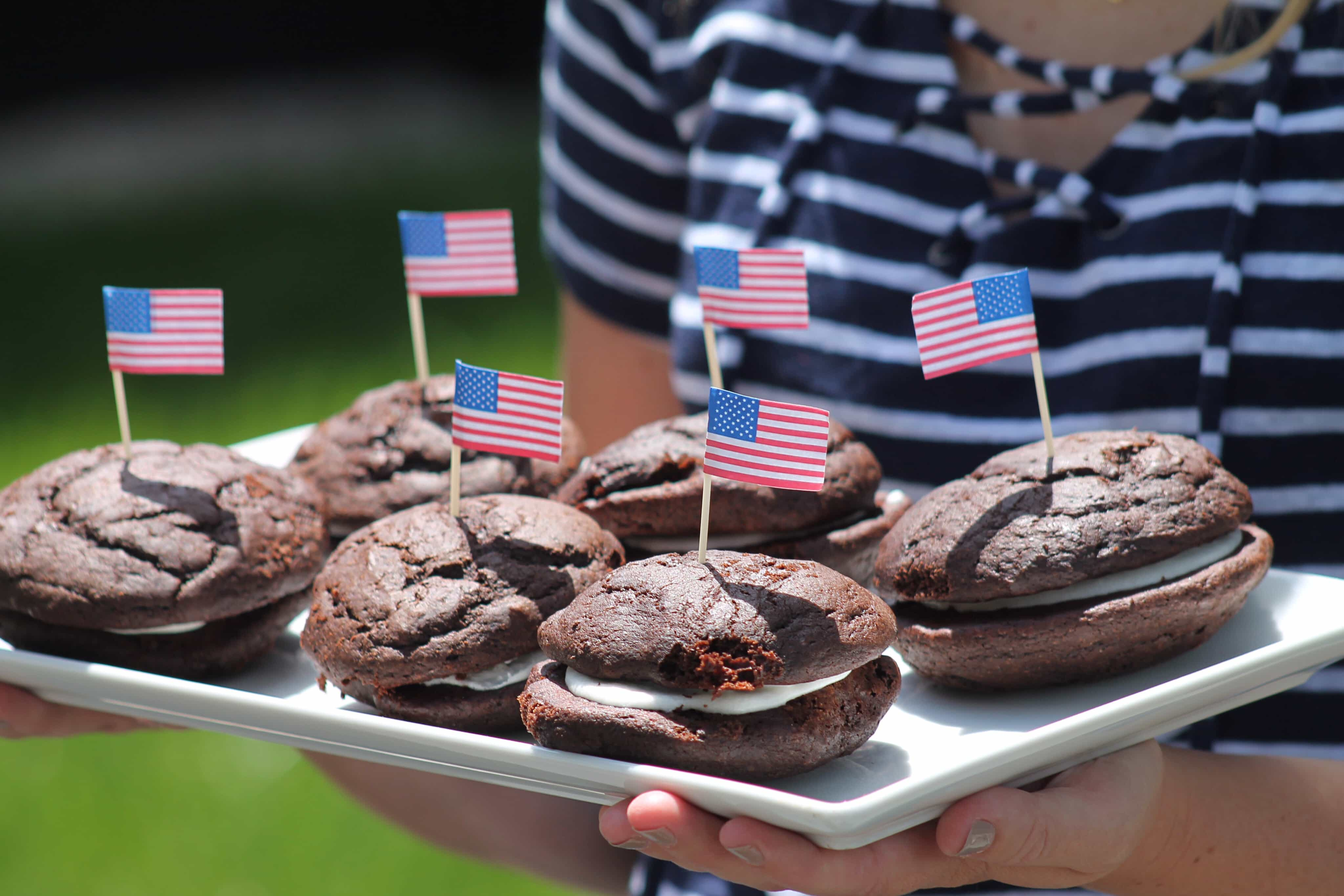 Whoopie Pies with tiny American Flags-Navy and white stripes