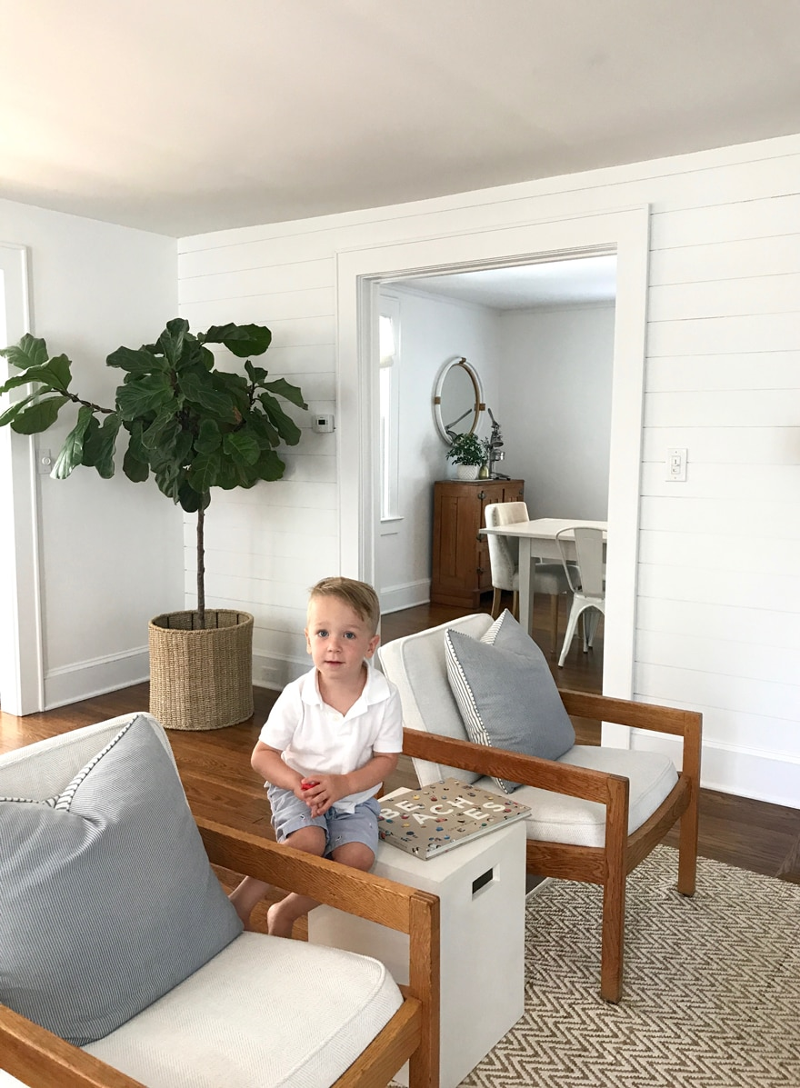 Beach Cottage White Living Room with Midcentury Chaits and shiplap