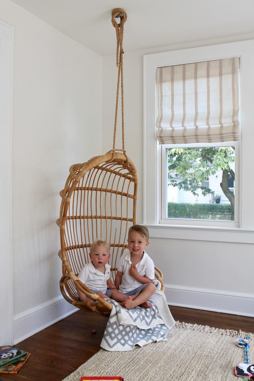Hanging Chair from Serena & Lily in playroom of Modern Cottage Beach House