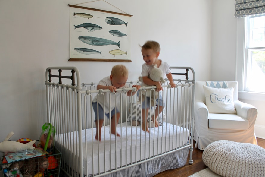 A nursery for two boys in a modern beach cottage