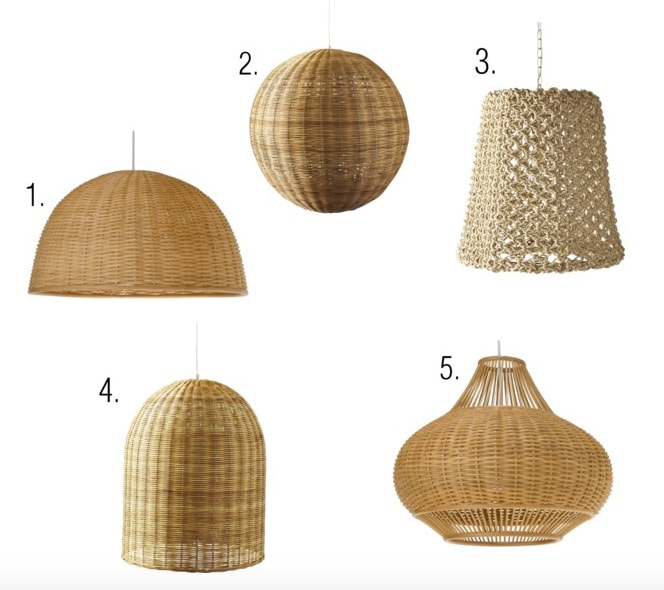 Wicker and rattan pendant lights for the home interior