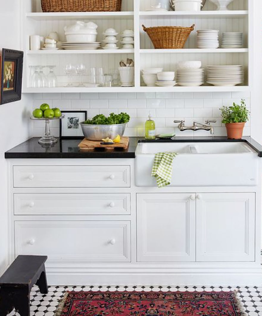Farm-sink-open-shelving-cottage-kitchen-black-and-white