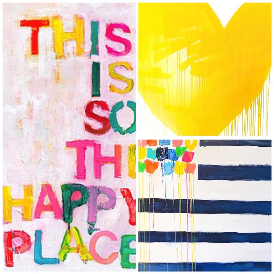Kerri Rosenthal Art Drippy Hearts & Words