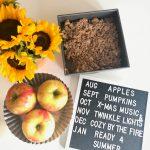 Letter-Folk-Board-Fall-Paleo-Apple-Crisp-Sunflowers-Honeycrisp-Apples