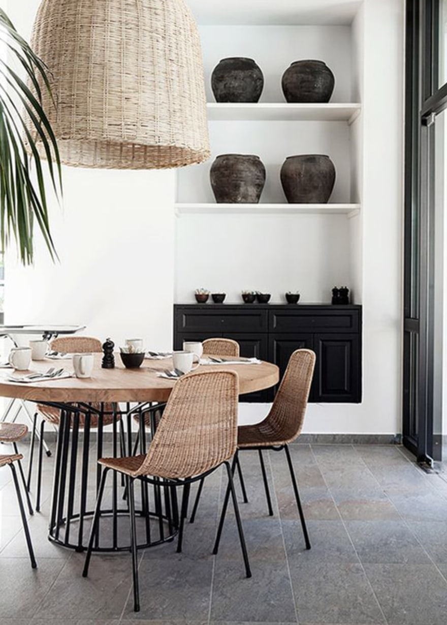 Rattan-Chairs-Dining-Table-Rattan-Pendant-Black-and-white-wood