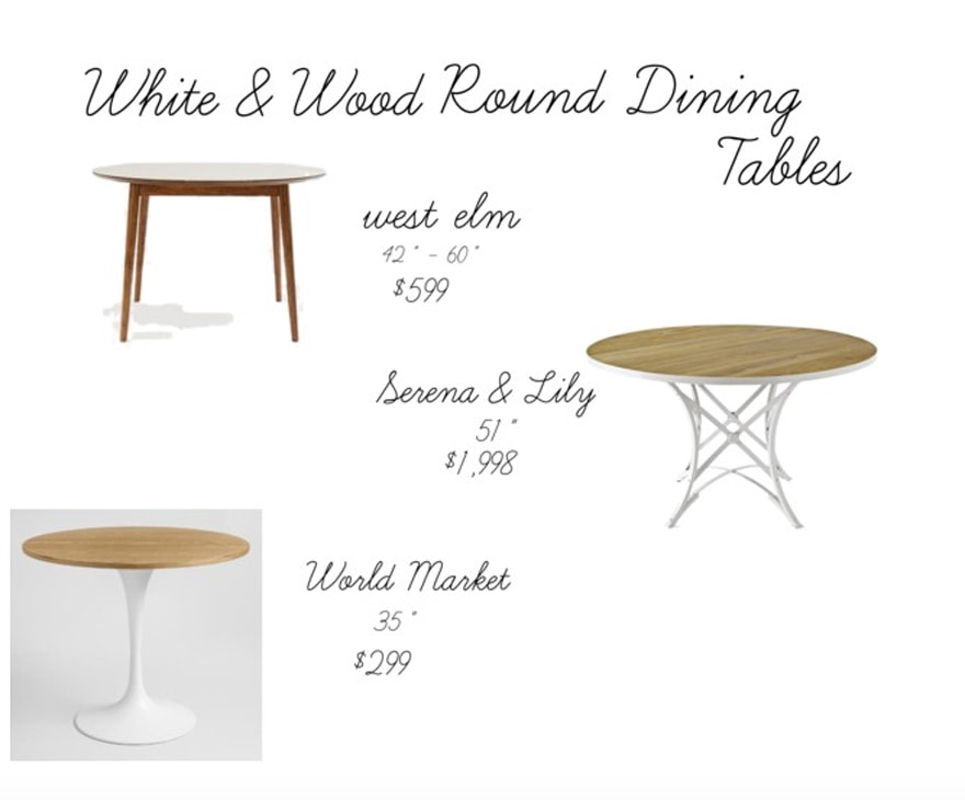 We Love Round Dining Tables Most Lovely Things : White and Wood Round Dining Tables West Elm Serena and Lily World Market from mostlovelythings.com size 880 x 730 jpeg 106kB