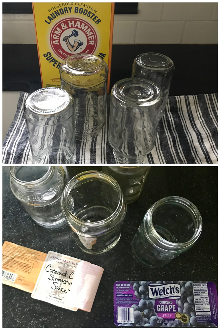 Arm-and-Hammer-Super-Washing-Soda-remove-labels-from-jars-repurpose