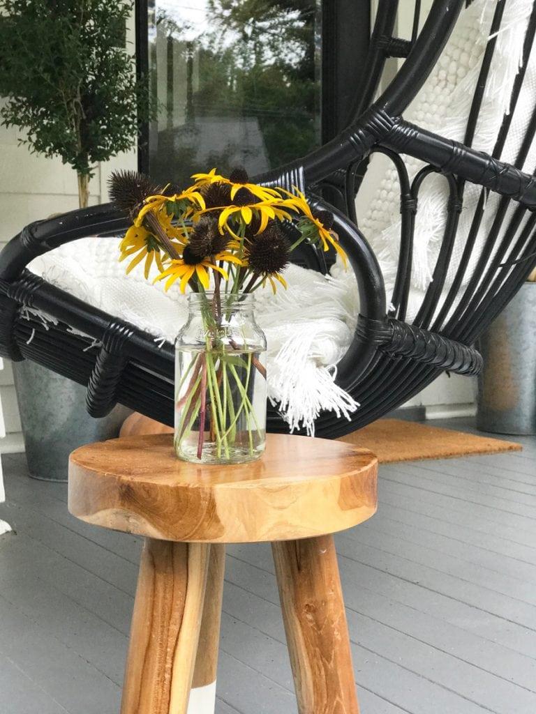 Black-Eyed-Susans-Jars-Repurposed-bohemian-modern-style-hanging-chair-front-porch-fall