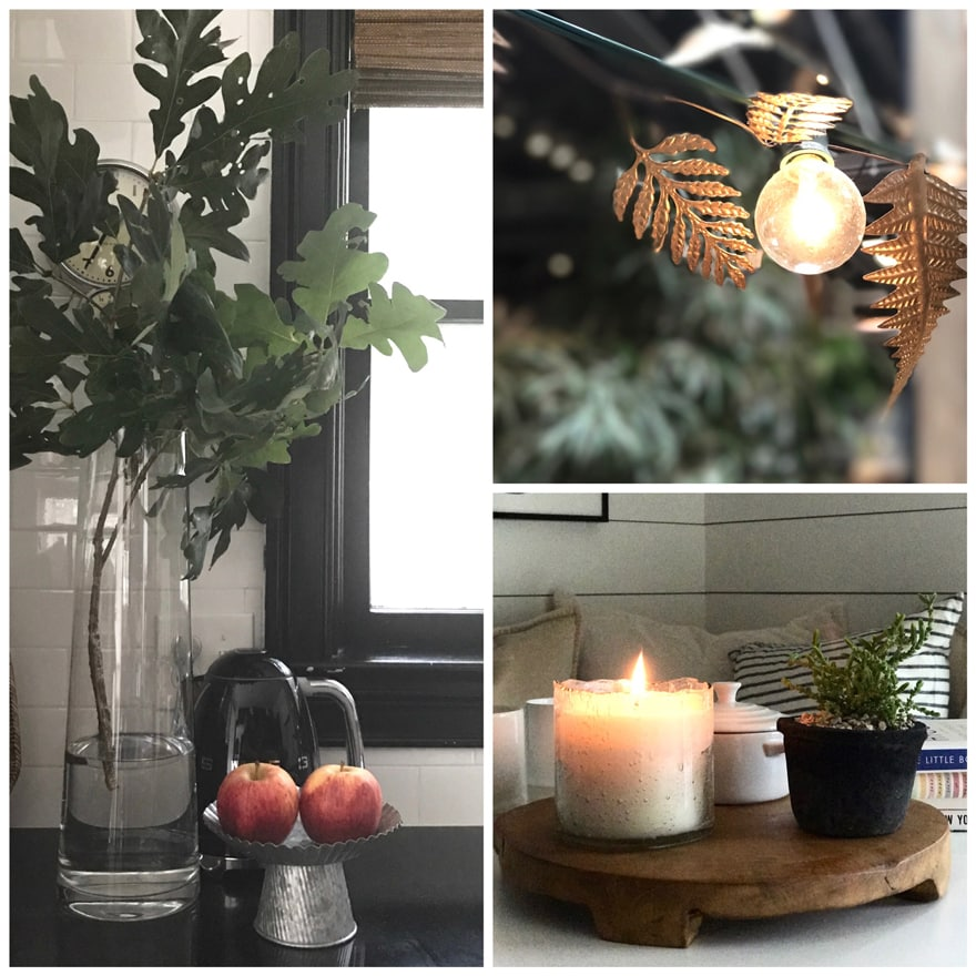Hygge Kitchen Fall Branches Lights Candles