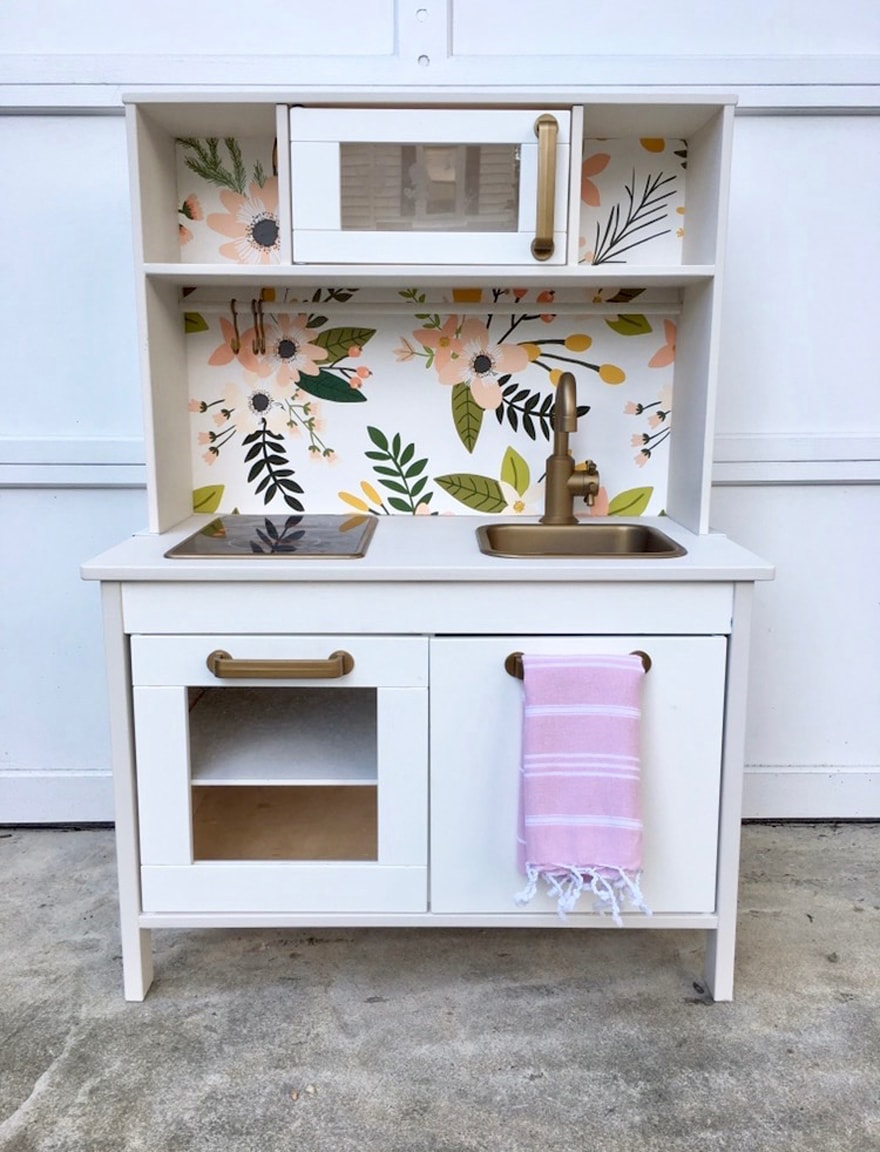 Ikea-Play-Kitchen-updated-with-wallpaper-brass-paint