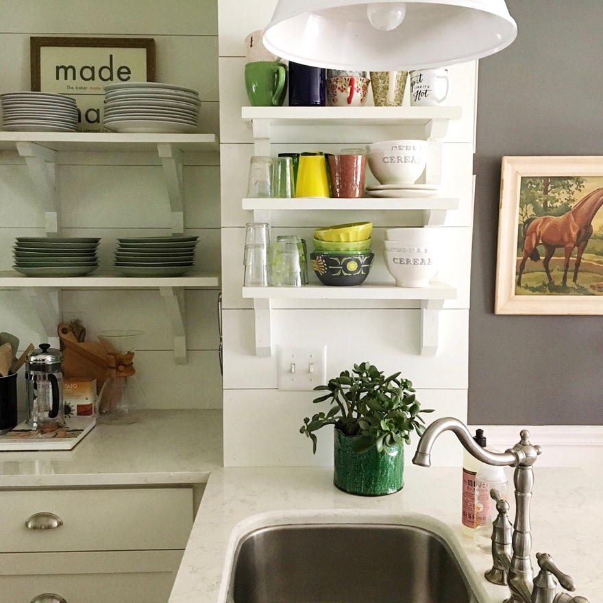 Kitchen-Bohemian-modern-open-shelving-white-barn-light-electric-pendant