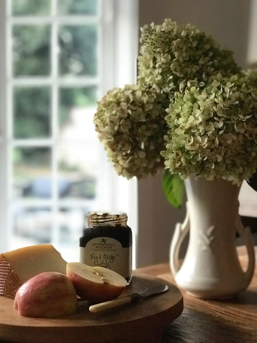 limelight-hydrangea-mccoy-apples-fruit-wood-board-jam-manchego-cheese-fall
