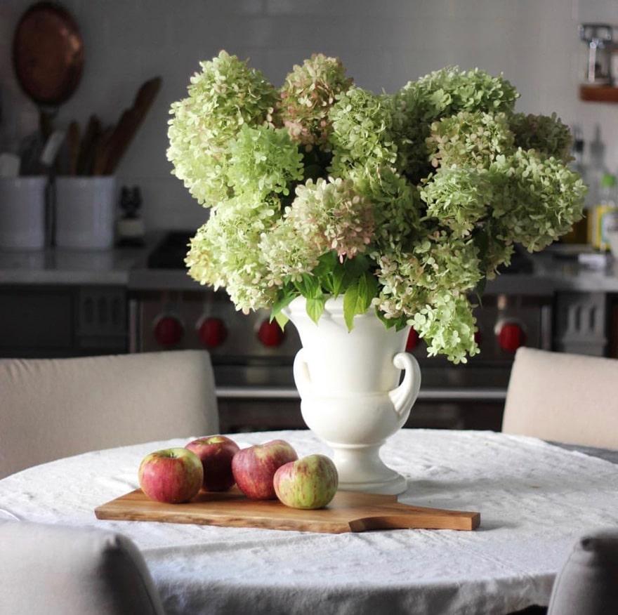 steve-urban-cottage-instagram-limelight-hydrangeas-apples-wood-cutting-board-linen-wolf-gas-range-open-shelving
