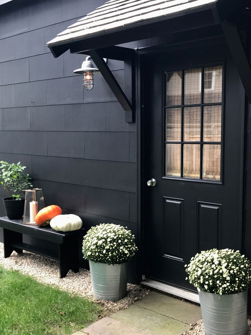A DIY Portico and everything painted Behr paint BLACK!