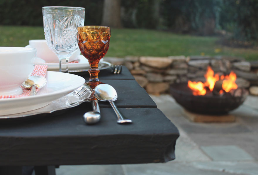 black-picnic-table-fire-pit-alfresco-tablescape