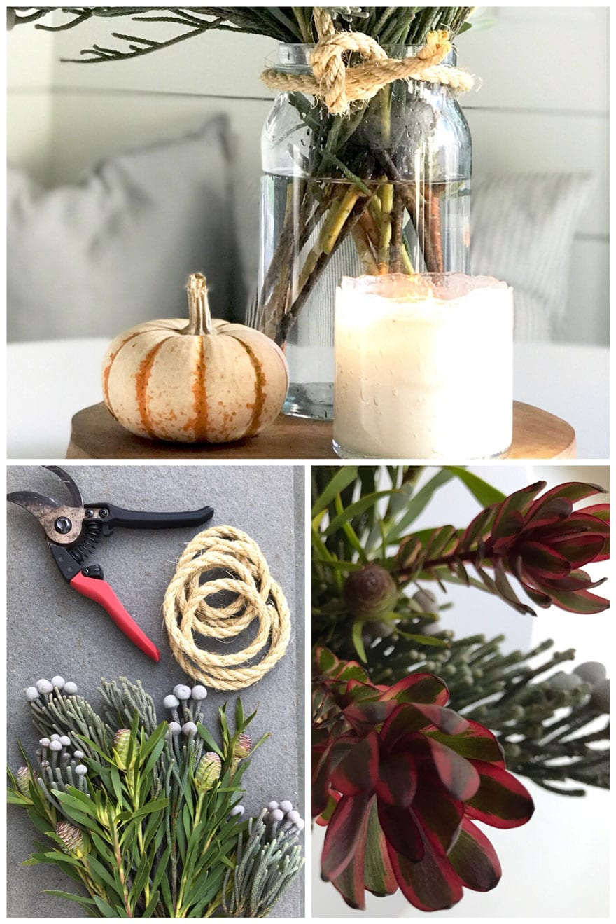 easy fall table centerpiece;iece for everyday on a wood board.