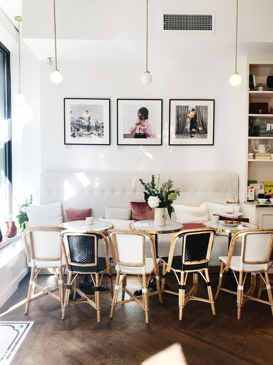 The prettiest spot in new York for a cappuccino while your shop at Sézan