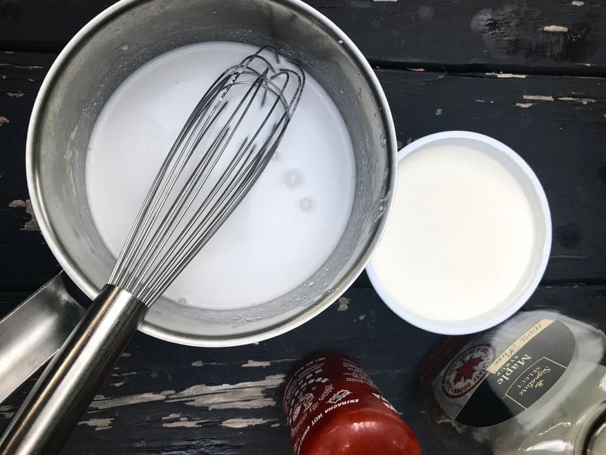Mix cream, sriracha, creme fraiche and maple syrup for the sauce