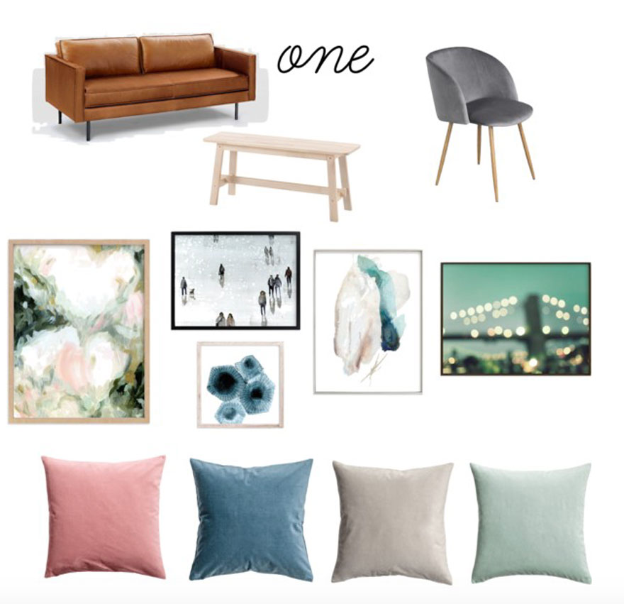 Ikea and Minted art + pillows from H&M for a small nyc apartment