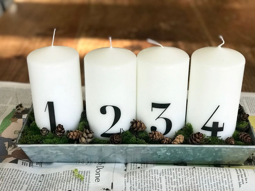 a simple rustic advent candle display