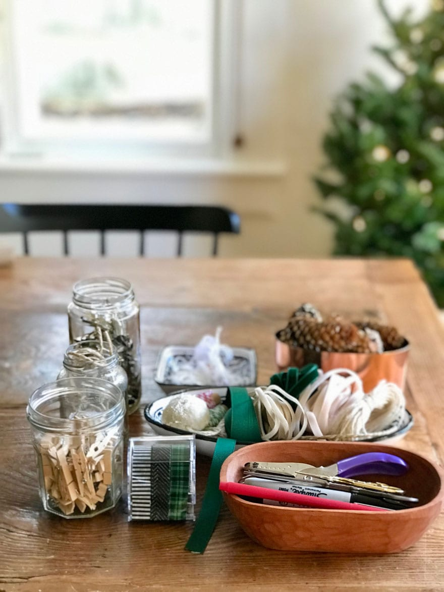 Set up a gift wrap station as extra holiday decor and you'll have everything at the ready next time you need to wrap a hostess gift as you walk out the door!