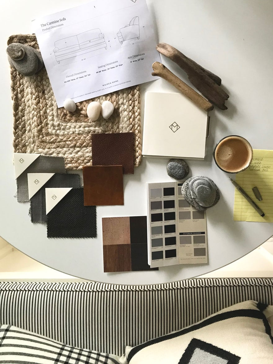 Inspiration board for a new sofa from Maiden Home,