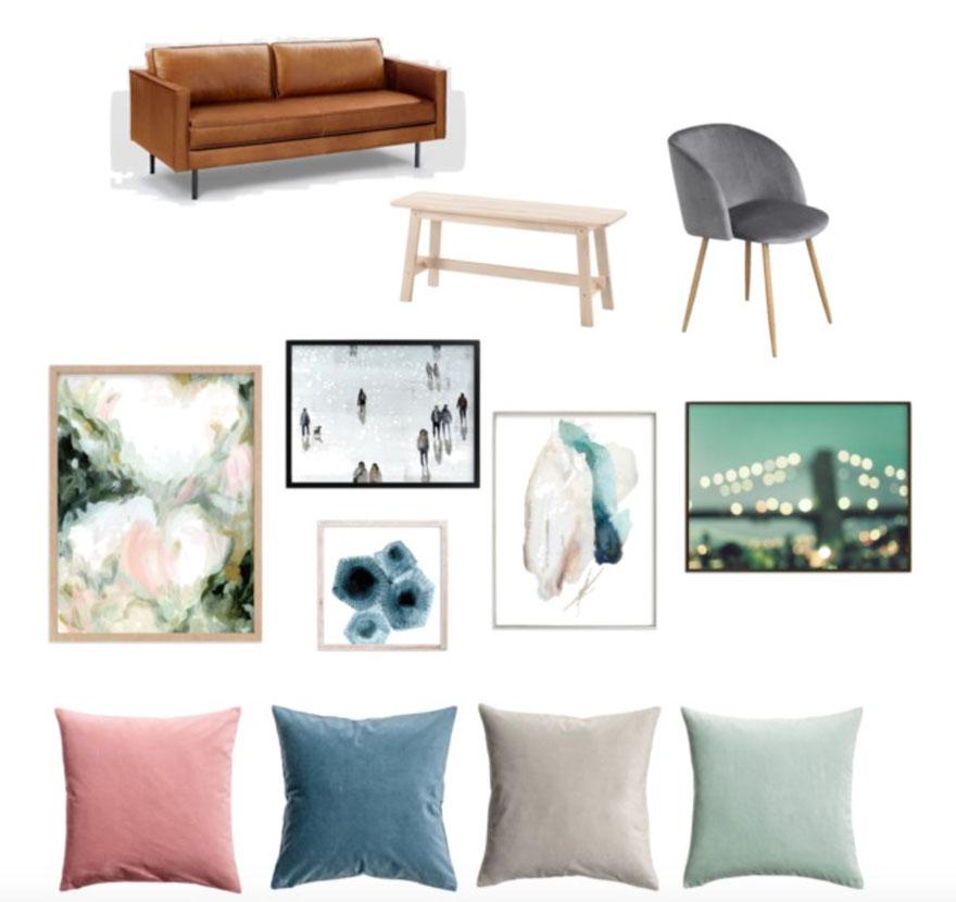 Minted art, velvet pillows from H&M