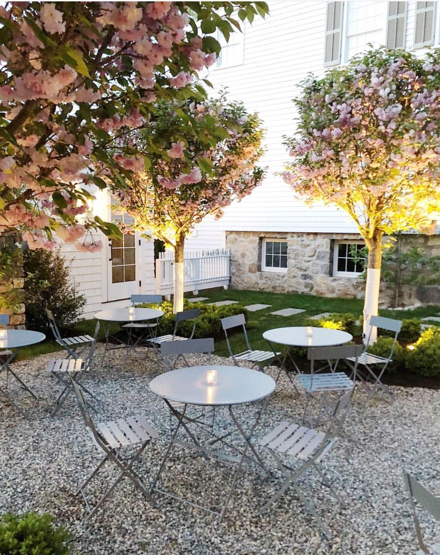 cafe tables and chairs, pea gravel