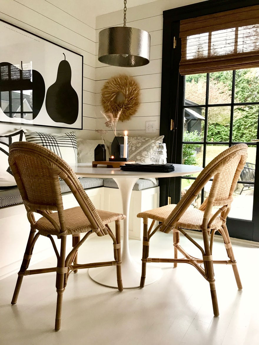 Our new Riviera Chairs in natural from Serena & Lily warms up our kitchen nook
