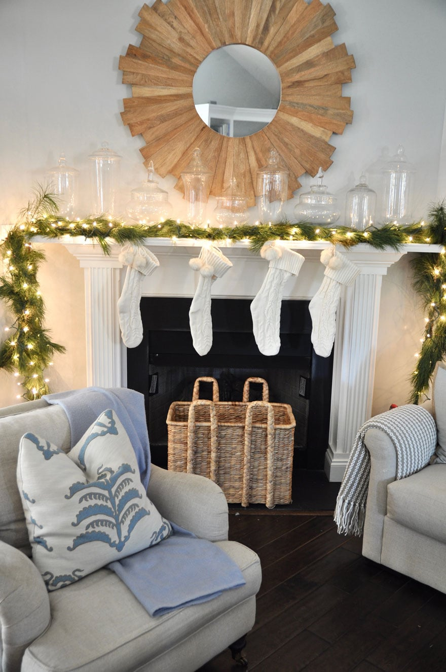 Beach house Christmas mantel