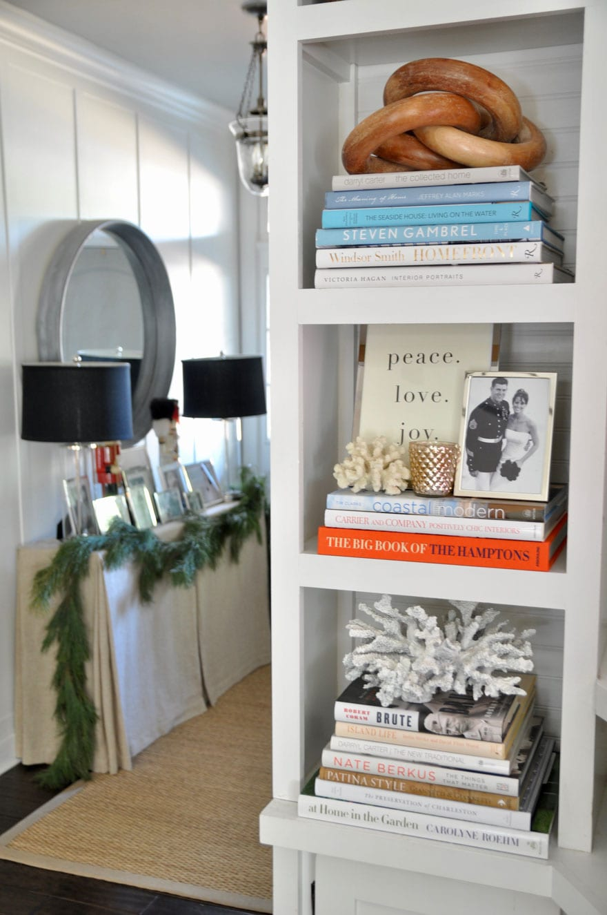 book shelves and holiday decorations