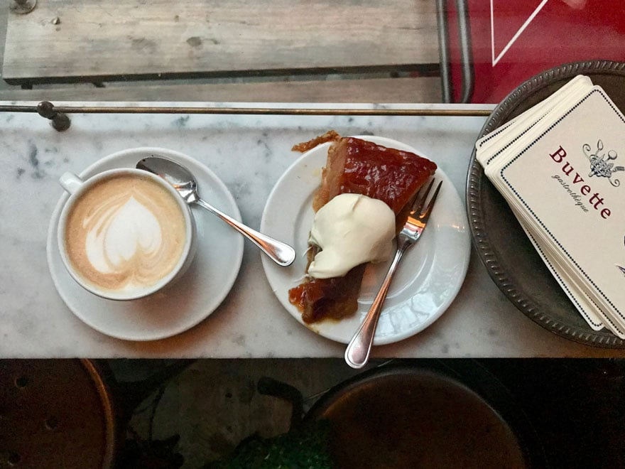 tartine and a cappuccino at Buvette in the West Village