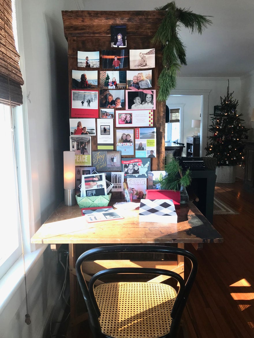 I set up a Holiday card writing desk in my living room!