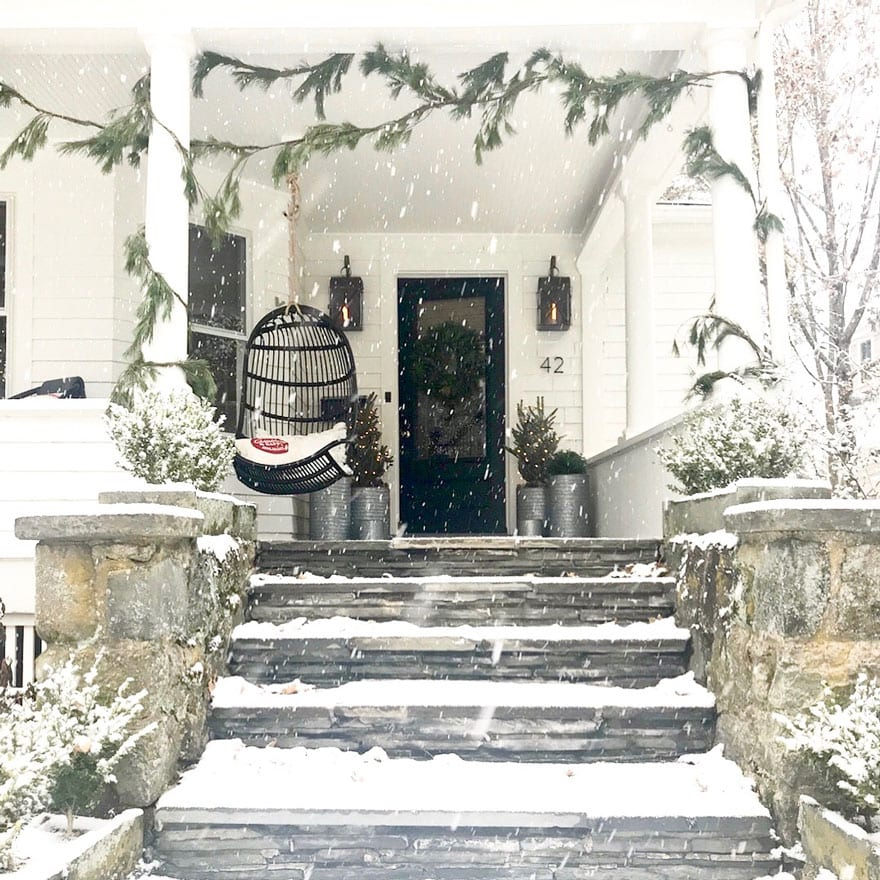A little fresh snow makes our porch feel even more like Christmas
