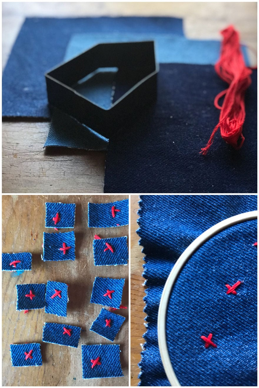 I made house shaped gift tags using the Hearth & Hand Magnolia cookie cutter shape and recycled denim