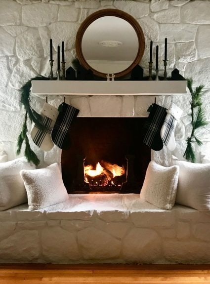 An update on our painted stone fireplace