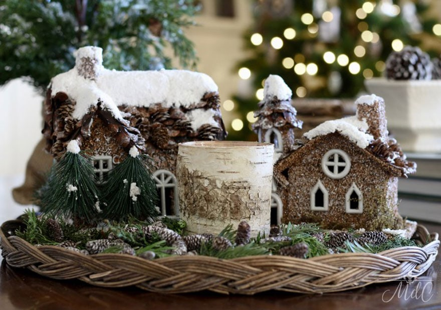Sheila's rustic woodland holiday display in her family room