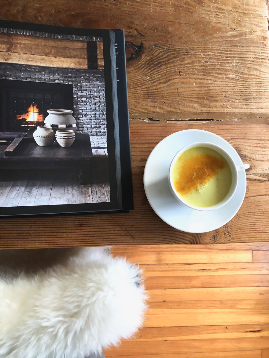 A Golden latte is the perfect treat to have while looking at Diane Keaton's new book, The House that Pinterest Built.